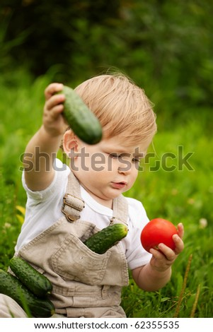 A little boy sitting on the grass and looking at vegetables. Tomatoes and cucumbers. - stock photo