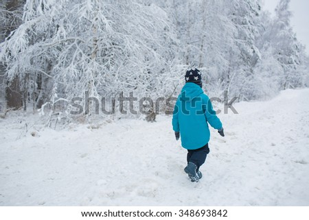 A little boy walks in a snow in the winter park. Back view - stock photo