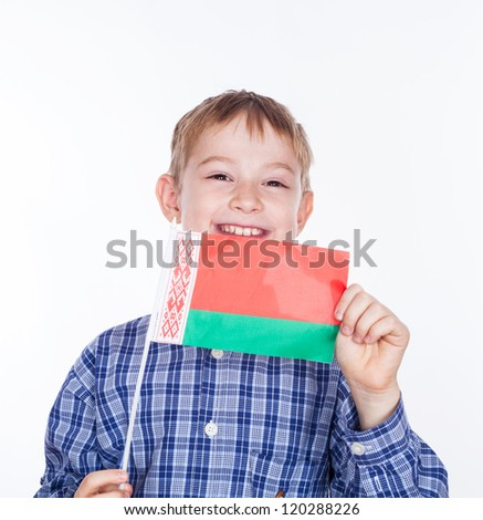 A little boy with belarusian flag on the white background