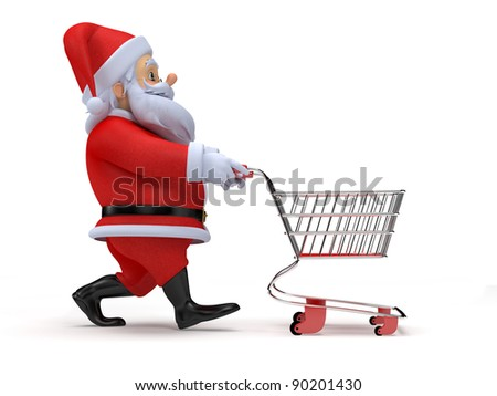 a little 3d santa with his shopping cart - stock photo