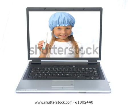 A little doctor repairing a sick computer, a laptop - stock photo