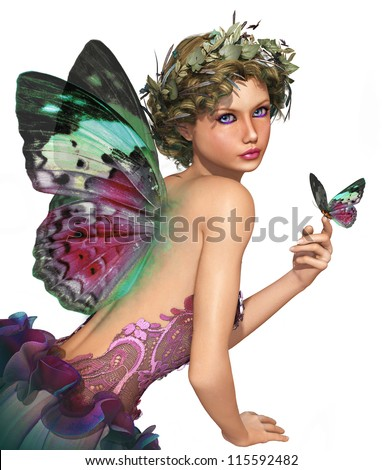 a little fairy with a butterfly in her hand