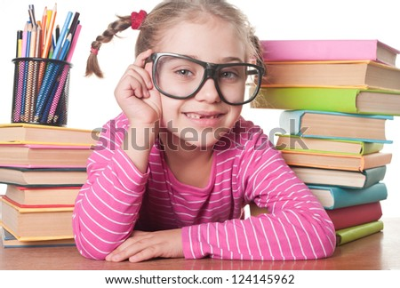 a little girl and books, back to school concept, isolated over white - stock photo