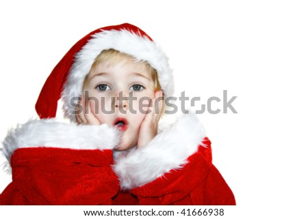 a little girl costumed as father christmas, astonished - stock photo