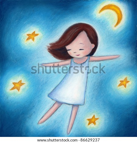 a little girl flying among the stars in a dream - stock photo