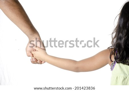 A little Girl Holding hands of her daddy - stock photo