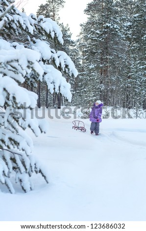 A little girl in a snowy forest. Walk on a winter evening. - stock photo