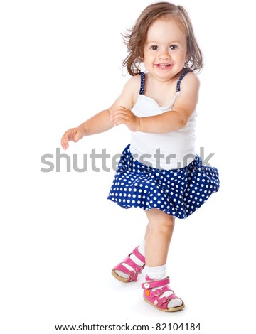 A little girl is posing. Isolated on a white background - stock photo