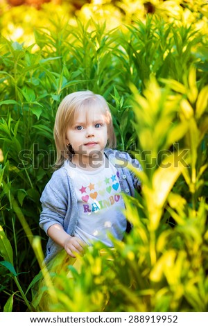 a little girl standing in the tall grass at sunset brilliant colors - stock photo