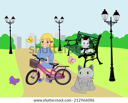 A little girl with a pink bike and two cats in a park.  - stock photo