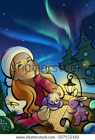 A little girl writes letter to Santa Claus. Christmas postcard. Raster illustration.