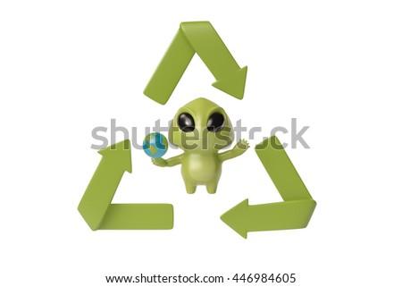 Little Green Monster Recycling Symbol 3 D Illustration Stock