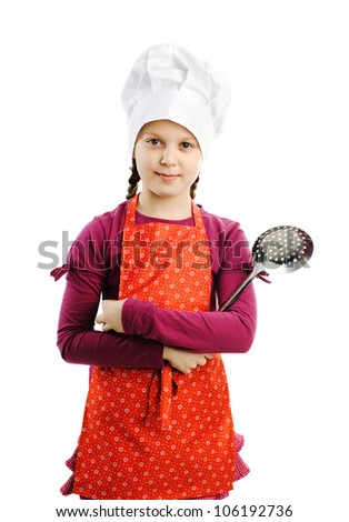 A little nice girl with skimmer in her hands - stock photo