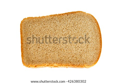 A loaf of bread on isolated background closeup. Hunk of bread baked with yeast with a porous inside.  Simple food of bread flour. Grey rustic bread. - stock photo