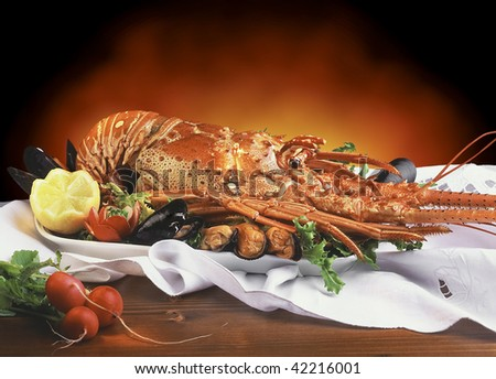 A lobster on a plate with mussels, lemon, radishes on a wooden table - food - still life - film scanned - stock photo