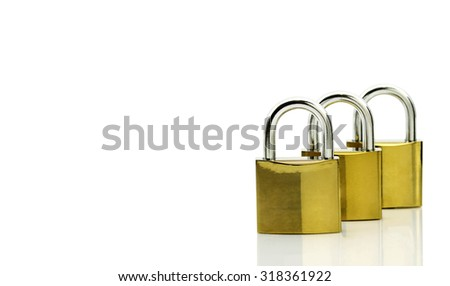 A lock on a white background