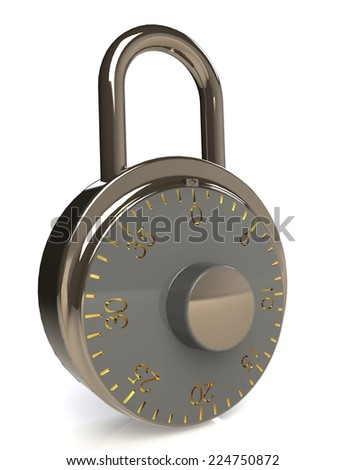 a locked combination padlock