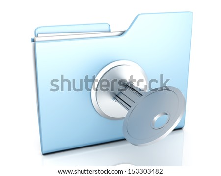 A locked Folder. 3D illustration. - stock photo