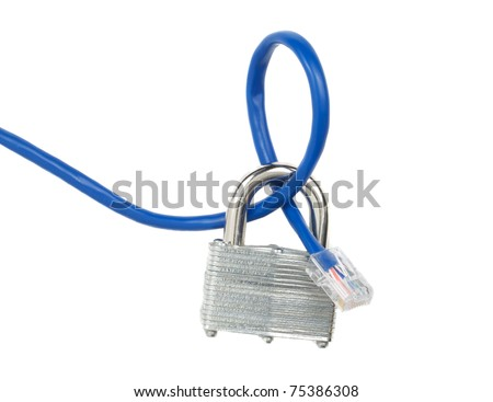 A locked padlock and a network cable - stock photo