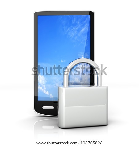 A locked smartphone. 3D rendered illustration isolated on white. - stock photo