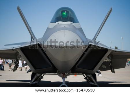 a Lockheed Martin/Boeing F-22 Raptor fighter plane - stock photo