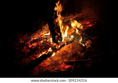 a log fire with a great night - stock photo