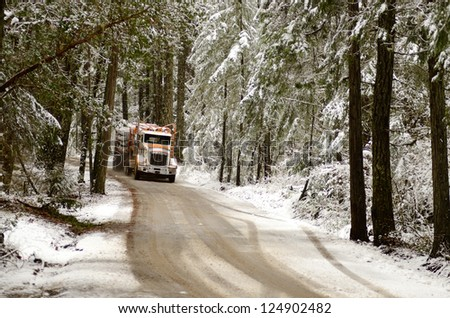 A log truck emerges from the snowy southern Oregon forest with a load of logs destined for the lumber mill - stock photo