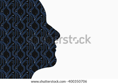 A logical thinking silhouette using electrifying circuit board lines in blue and white copy space to the right. High tech and bold this horizontal format could be used for many modern ideas. - stock photo