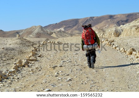 A lone man traveling through the desert. En Avedat, Israel - stock photo