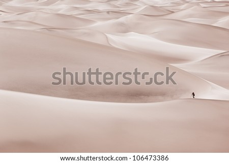 A lone photographer stands among giant sand dunes in Mesquite Dunes near Stove Pipe Wells in Death Valley National Park. - stock photo