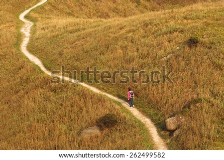A lonely lady hiker captured marching on a winding trail surrounded by golden grass.  - stock photo