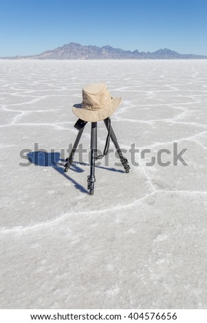 A lonely tripod sits on the Bonneville Salt Flats - stock photo