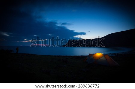 A long exposure of Talisker Bay at night. North West Highlands of Scotland. - stock photo