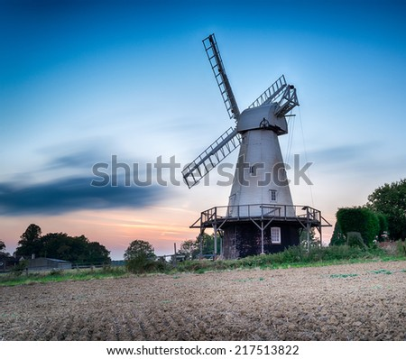 A long exposure of Woodchurch Windmill in the Kent countryside