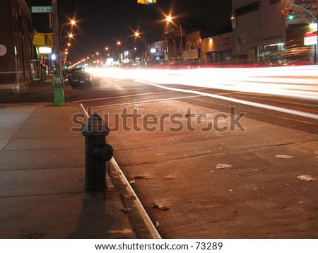 A Long Exposure Shot of a Street in NYC - stock photo