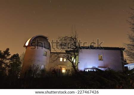 A long exposure shot of the small city observatory Golovec in Ljubljana at the night.  Observatory  is mainly used for study purposes by the Faculty of Physics and Mathematics Astronomy department.  - stock photo