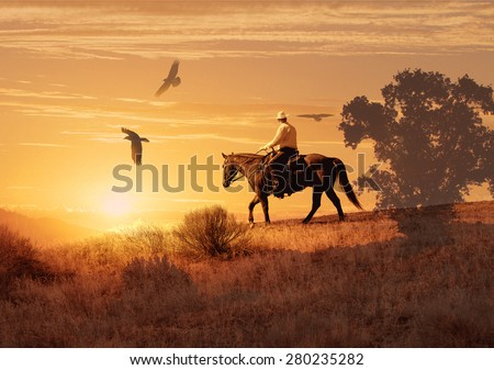 A long hot ride in the saddle.  A cowboy makes his way through the desert in the sweltering hot sun.  Crows circle the horse in a surreal photography image. - stock photo