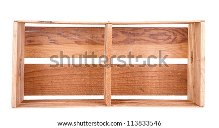 A long wooden crate on its side isolated on white - stock photo