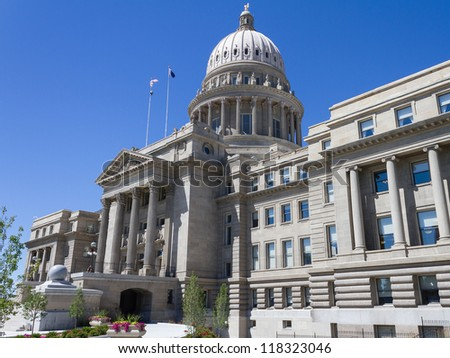 A look at the boise state capital from outside. - stock photo
