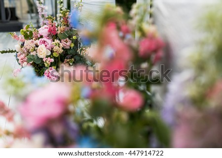 A look through the flowers on a rich pink bouquet - stock photo