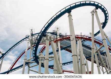 A Looping Roller Coaster,roller coaster,The loops of a scaring roller coaster in Japan - stock photo