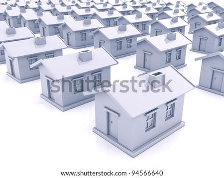 A lot like ordinary houses on a light background - stock photo