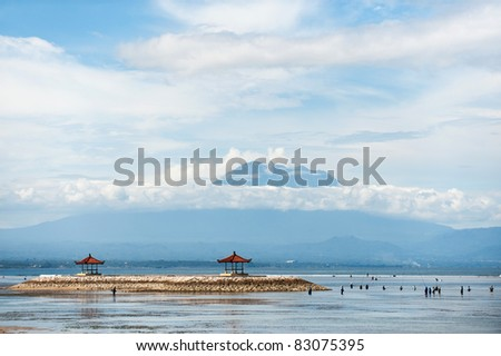a lot of anglers at the sanur beach in bali - stock photo
