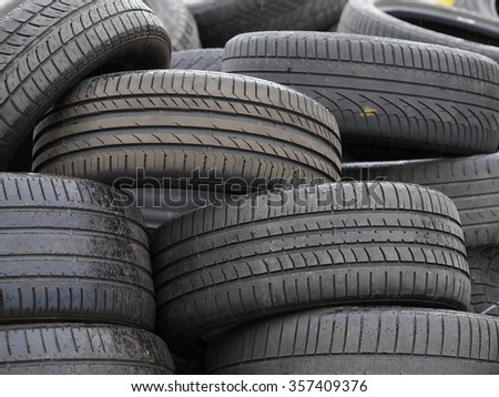 a lot of black tires  - stock photo