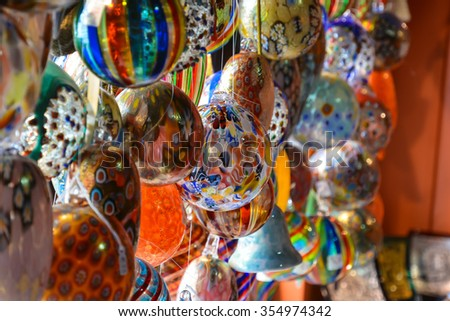 A lot of bright multi-colored balls to decorate interiors for Christmas. - stock photo