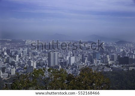 A lot of building in seoul city from viewpoint. South Korea