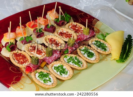 A lot of canapes and sandwiches - stock photo