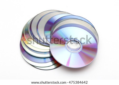 A lot of CDs on white background