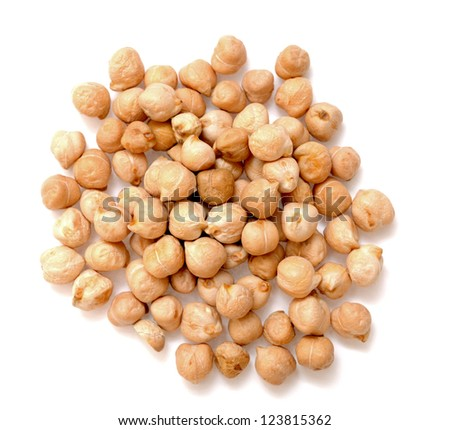 a lot of chickpea on white background - stock photo