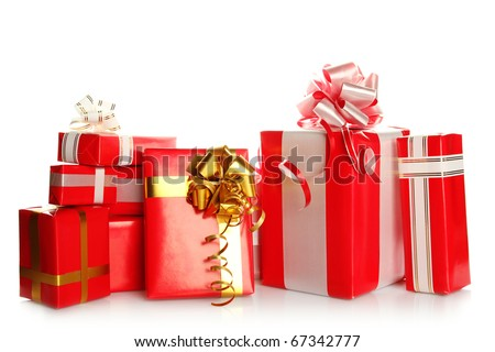 A lot of Christmas presents different values in the red packages with colorful bows. Isolated white background - stock photo